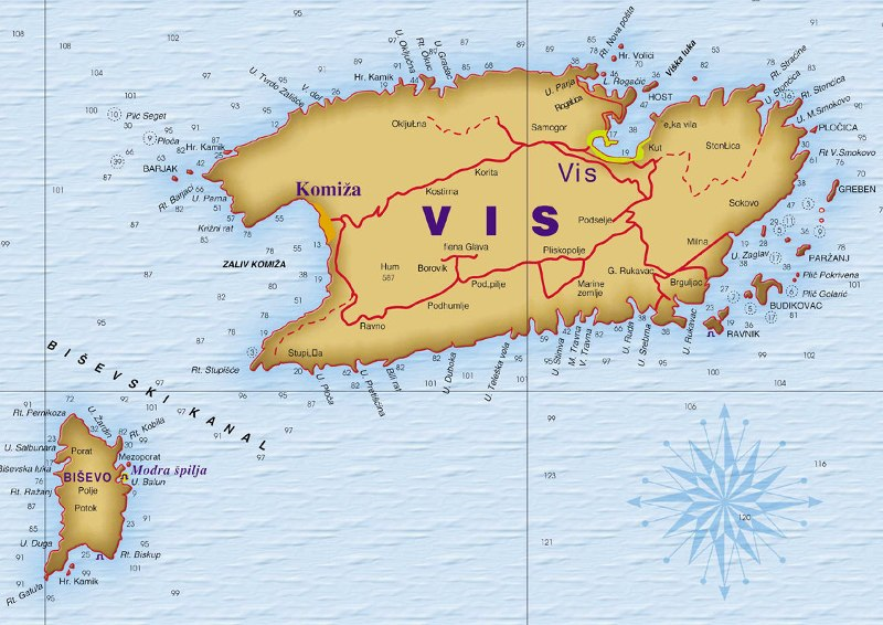 Mapa Otoka Visa